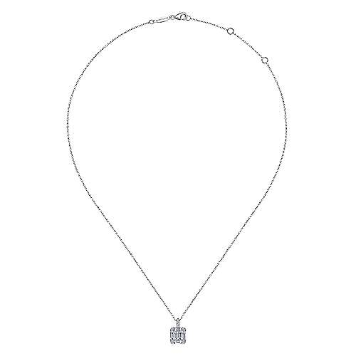 14K White Gold Baguette and Round Diamond Square Pendant Necklace