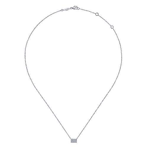 14K White Gold Baguette and Round Halo Rectangular Diamond Pendant Necklace