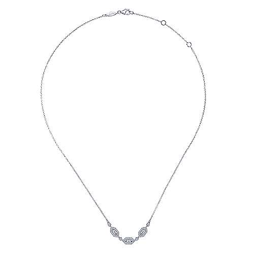 14K White Gold Baguette and Round Hexagonal Station Diamond Necklace