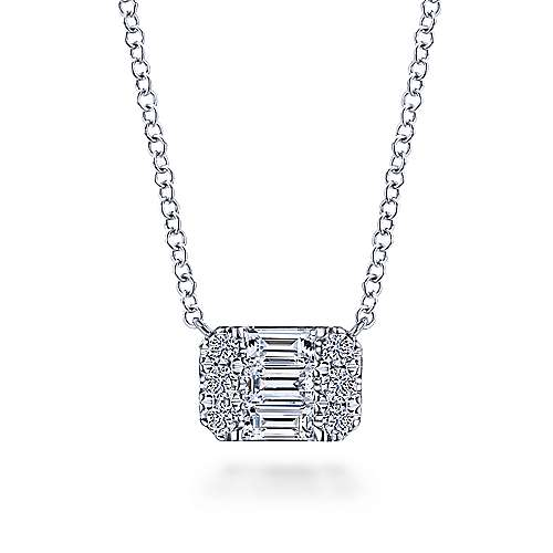 14K White Gold Baguette and Round Rectangular Diamond Pendant Necklace