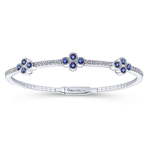 14K White Gold Bangle with Diamond and Sapphire Quatrefoil Stations