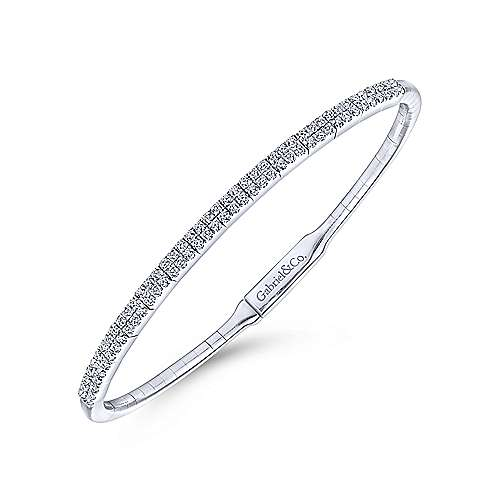 14K White Gold Bangle with Double Diamond Rows