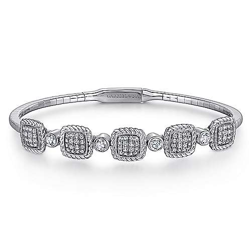 14K White Gold Bangle with Pave Diamond and Twisted Rope Stations