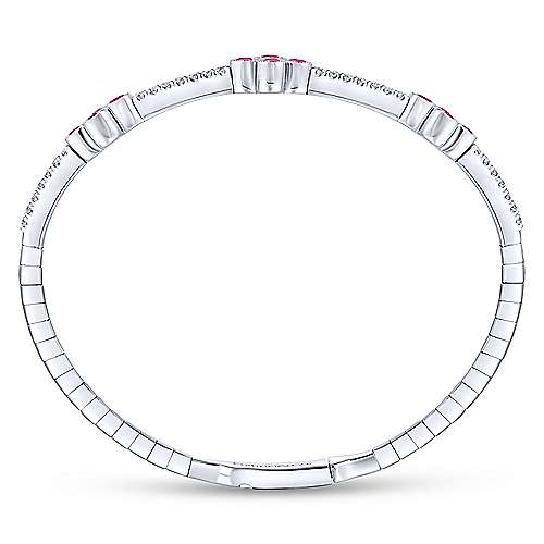14K White Gold Bangle with Rubies in Clover Shapes
