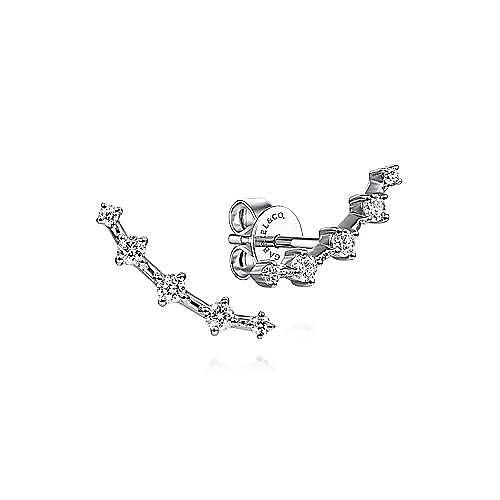 14K White Gold Bar Diamond Stud Earrings