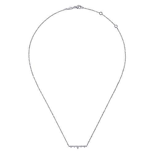 14K White Gold Bar Necklace with Diamond Triangle Stations