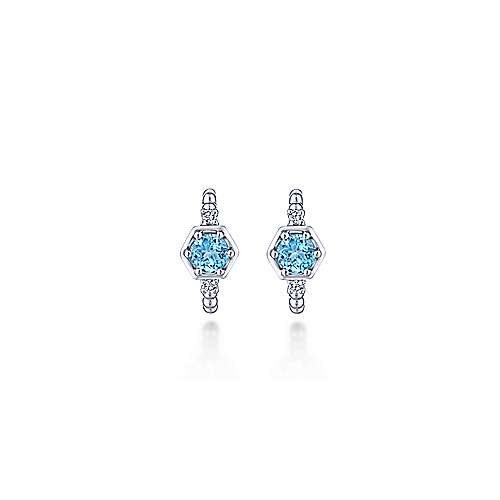 14K White Gold Beaded 10MM Blue Topaz and Diamond Huggie Earrings