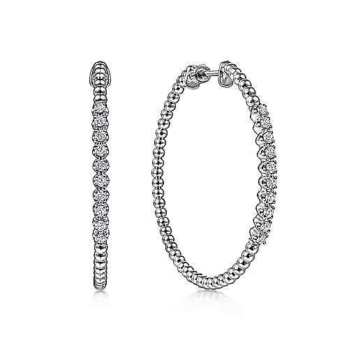 14K White Gold Beaded 40mm Diamond Hoop Earrings