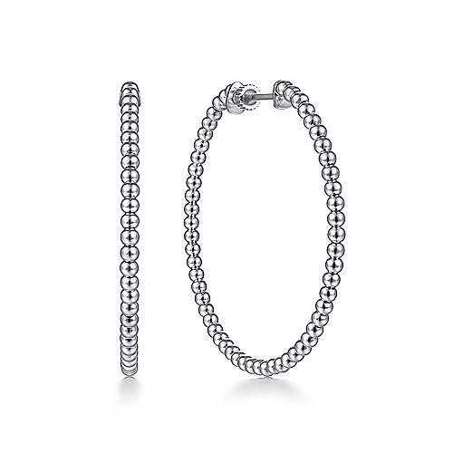 14K White Gold Beaded 40mm Round Classic Hoop Earrings
