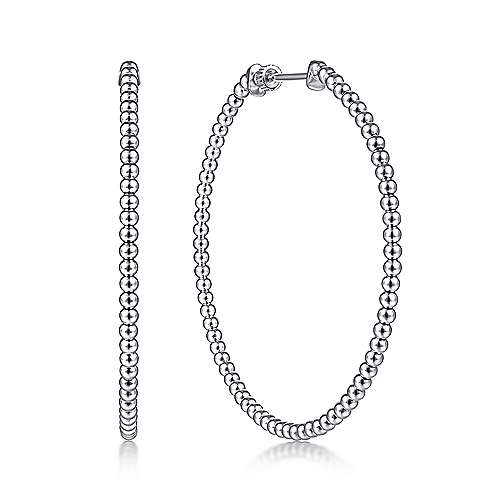 14K White Gold Beaded 50mm Round Classic Hoop Earrings