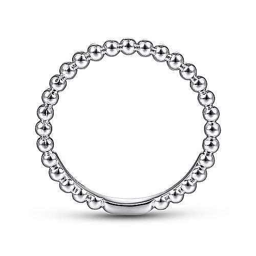 14K White Gold Beaded Ball Stackable Wedding Band