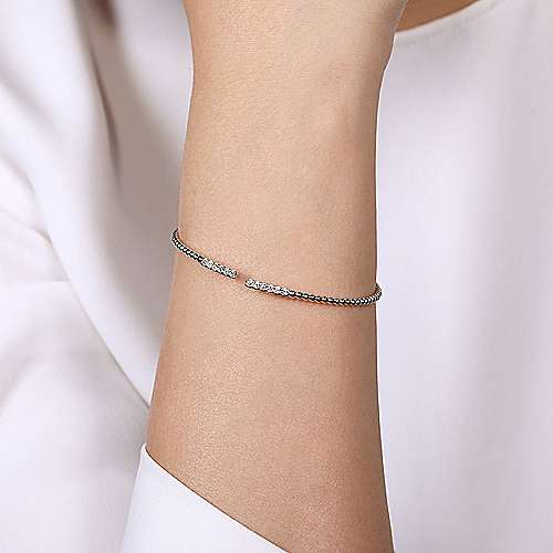 14K White Gold Beaded Bangle with Diamond Bar Ends