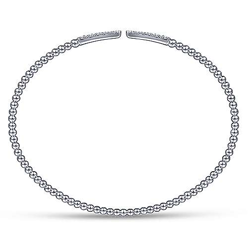 14K White Gold Beaded Bangle with Diamond Pointed Accents