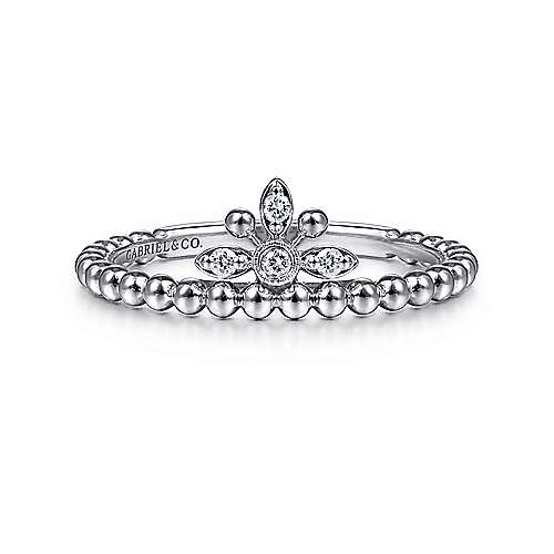 14K White Gold Beaded Diamond Crown Ring
