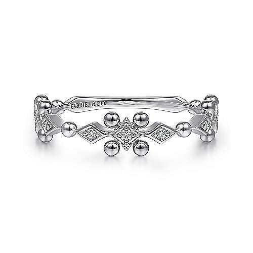 14K White Gold Beaded Diamond Stackable Ring