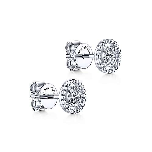 14K White Gold Beaded Halo Diamond Pavé Stud Earrings