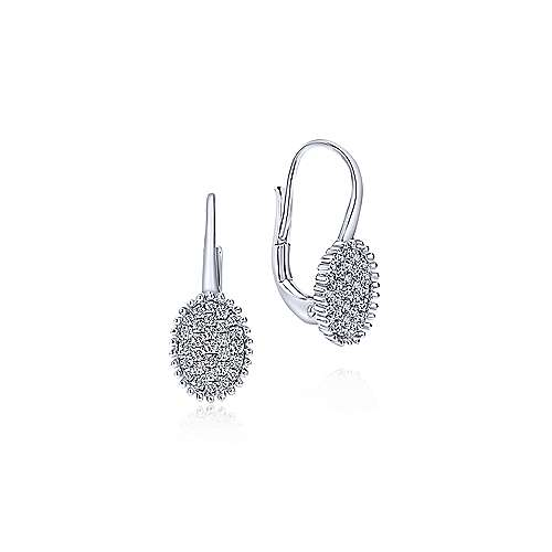 14K White Gold Beaded Oval Diamond Cluster Drop Earrings