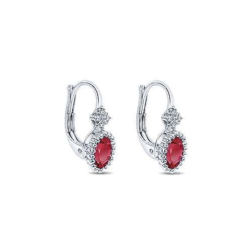 14K White Gold Beaded Oval Ruby and Diamond Drop Earrings