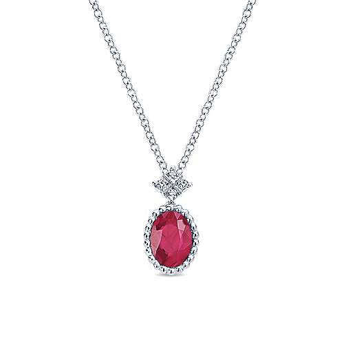 14K White Gold Beaded Oval Ruby and Diamond Pendant Necklace