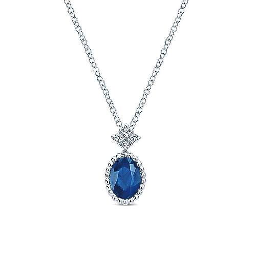 14K White Gold Beaded Oval Sapphire and Diamond Pendant Necklace