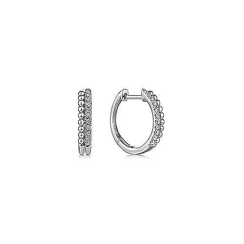 14K White Gold Beaded Pavé 10mm Diamond Huggies