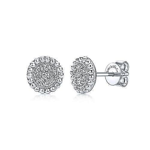 14K White Gold Beaded Round Diamond Cluster Stud Earrings