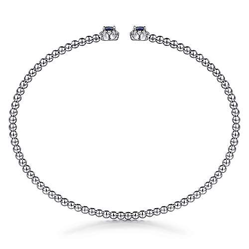 14K White Gold Beaded Sapphire and Diamond Halo Open Bangle