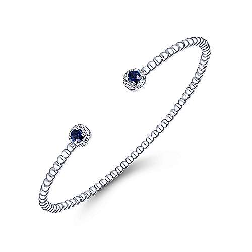 14K White Gold Beaded Sapphire and Diamond Halo Open Bangle