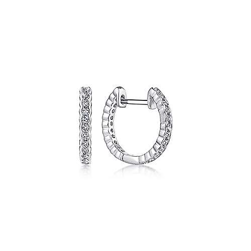 14K White Gold Bezel Set 15mm Classic Diamond Huggie Earrings