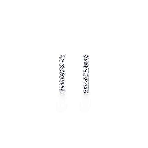 14K White Gold Bezel Set 15mm Classic Diamond Huggies