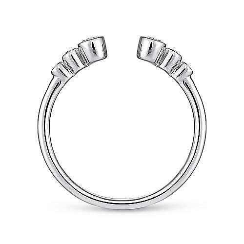 14K White Gold Bezel Set Diamond Split Stackable Ring