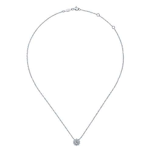 14K White Gold Bezel Set Floral Diamond Pendant Necklace
