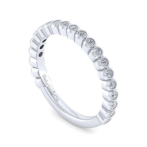 14K White Gold Bezel Set Stackable Diamond Band