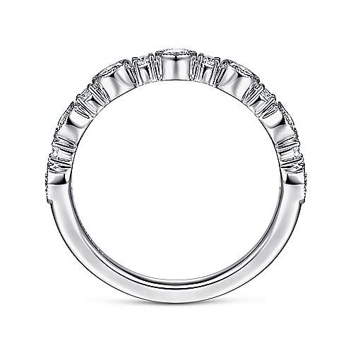 14K White Gold Bezel Station Diamond Anniversary Band with Millgrain