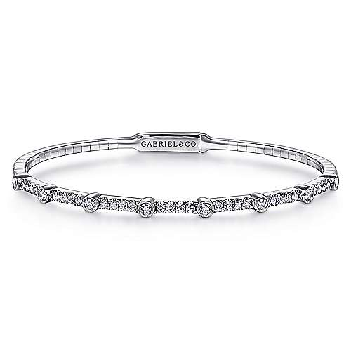 14K White Gold Bezel Station Diamond Bangle