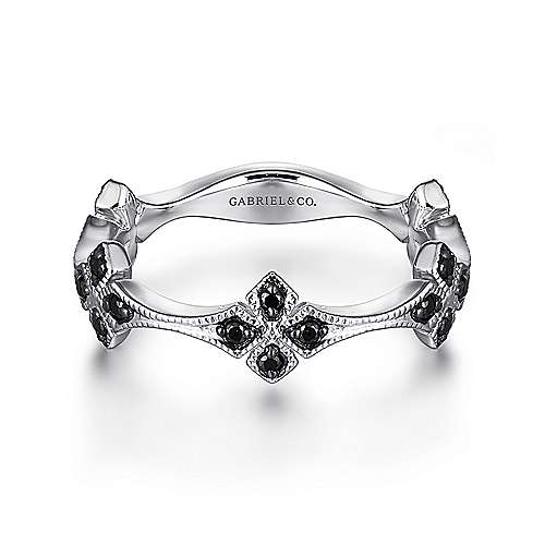 14K White Gold Black Diamond Floral Station Stackable Ring