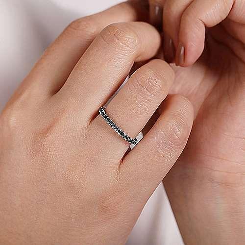 14K White Gold Black Fashion Ladies Ring