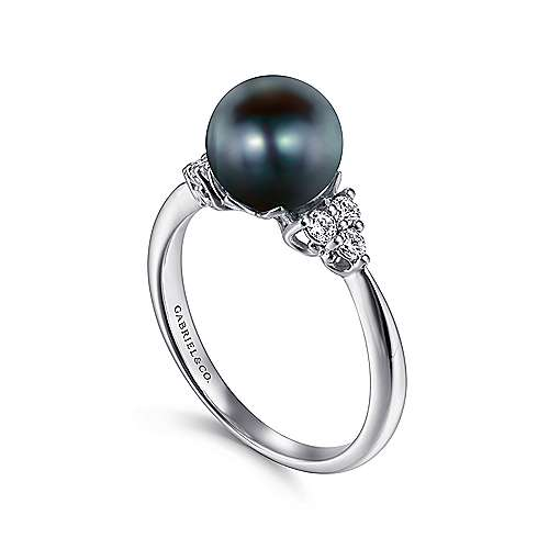 14K White Gold Black Pearl and Diamond Cluster Ring