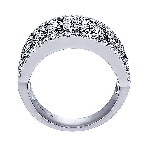 14K White Gold Black and White Diamond Pattern Wide Ring