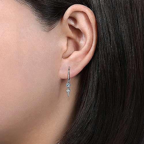 14K White Gold Blue Topaz and Spiked Diamond Kite Drop Earrings