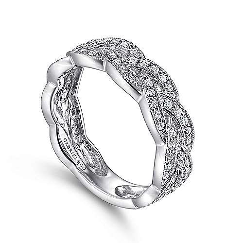 14K White Gold Braided Diamond Stackable Ring
