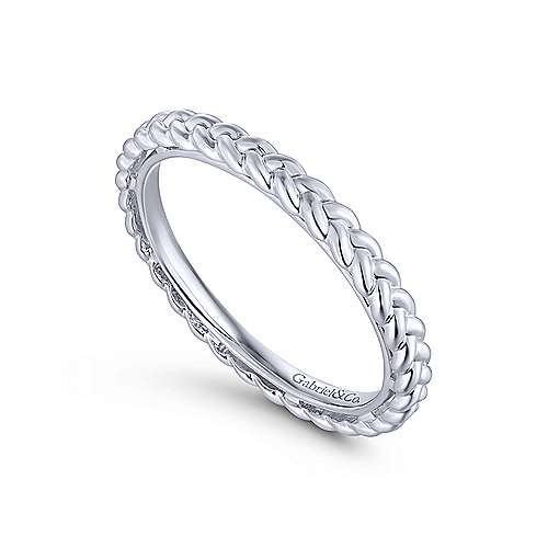 14K White Gold Braided Metal Stackable Band