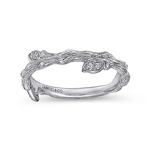 14K White Gold Brushed Finish Branc and Leaves Diamond Stackable Ring
