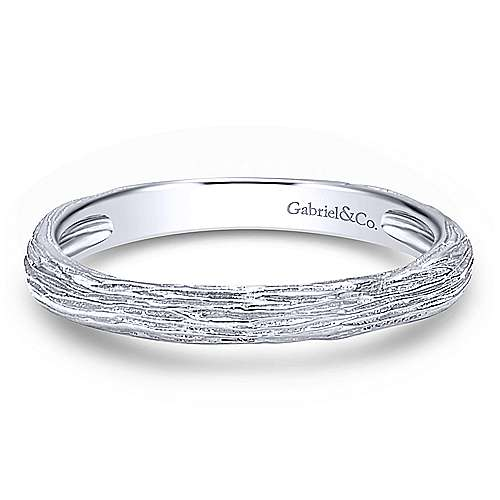 14K White Gold Brushed Textured Stackable Band