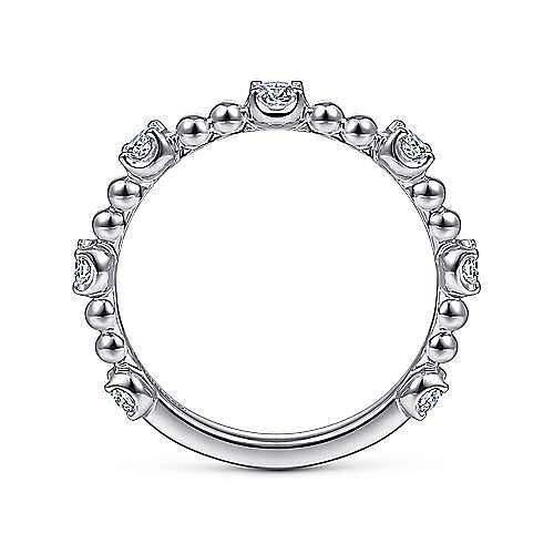 14K White Gold Bujukan Ball and Diamond Cluster Station Ring