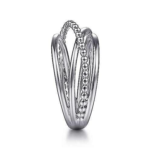 14K White Gold Bujukan Bead Criss Cross Ring