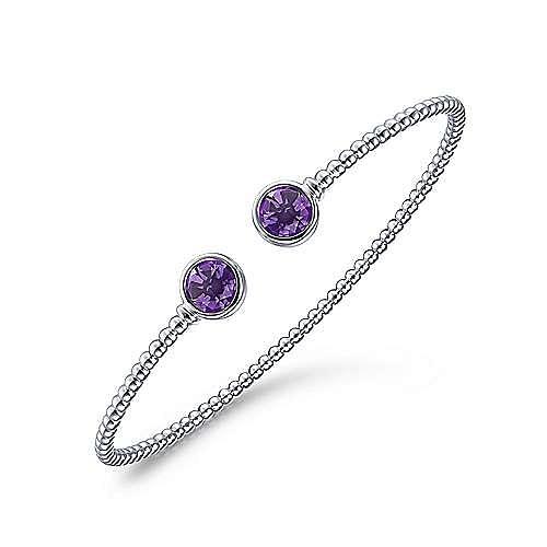 14K White Gold Bujukan Bead Cuff Bracelet with Bezel Set Round Amethyst