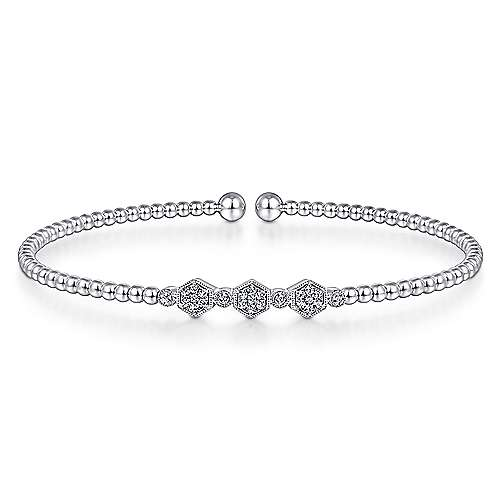 14K White Gold Bujukan Bead Cuff Bracelet with Cluster Diamond Hexagon Stations