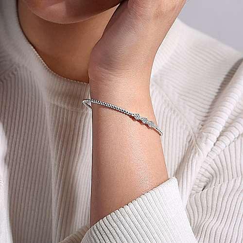 14K White Gold Bujukan Bead Cuff Bracelet with Cluster Diamond Hexagon Stations