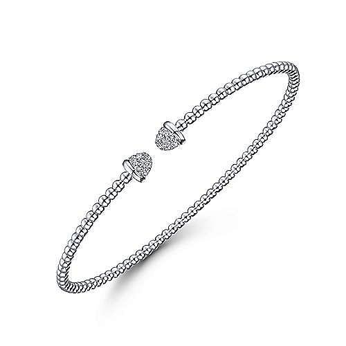 14K White Gold Bujukan Bead Cuff Bracelet with Diamond Pavé Caps